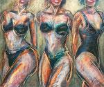 Drei Frauen,  52X71cm, Ölpastell auf Karton