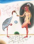 Modell und Saruskranich 20X26cm Aquarell, Gouache, Tusche auf Papier, 2003