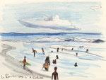 Am Strand von La Réunion, 16X20cm, Artist Pen, Buntstift auf  Papier