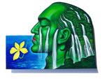 Das grüne Autoportrait, 30X40cm, Acryl auf Leinwand auf Aluminiumplatte