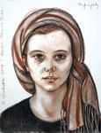 Alica, 50X65cm, Sanguine, Zeichenkreide auf Papier