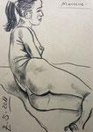 Liegende Akt,  30X42cm,  Zeichenkreide auf grauem Papier