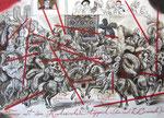 Turnier mit dem Kaukasischen Teppich, 40X60cm Sepia, Antiktusche auf Papier 2003