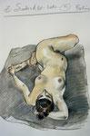 Liegende Akt,  33X50cm,  Zeichenkreide, Aquarell auf Papier