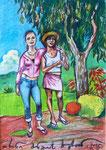 Zwei Touristinnen unter Mangobaum, La Réunion, 20X30cm, Artist Pen, Buntstift auf  Papier