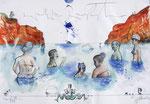 Millionäre von Milos,  40X60cm, Tusche, Aquarell auf Papier, 1993