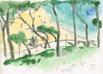 Cala Santanyi, Mallorca, 21X30cm, Aquarell, Tintenroller auf Papier