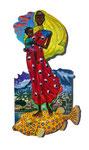 Mutter mit Kind aus St. Pierre, 49X89cm, Acryl auf Leinwand auf Aluminiumplatte