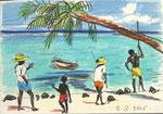 Mauritius,  14X20cm, Artist Pen, Buntstift auf  Papier