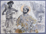 Maharaja mit Diener,  50X75cm, Tusche auf Himalayapapier, 1998