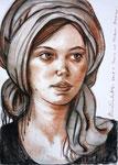 Daria, 50X70cm, Sanguine, Zeichenkreide auf Papier
