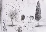 Olivenbaumpoesie am Gardasee 42X60cm Chinatusche auf Papier, 1993