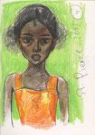 Creolin, La Réunion, 14X21cm, Artist Pen, Buntstift auf  Papier