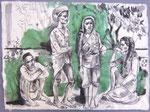 Einhaimische Familie,  50X75cm, Tusche auf Himalayapapier, 1998