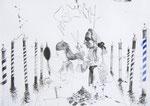 Der Barbier von Venedig 42X60cm Chinatusche, Aquarell auf Papier, 1993