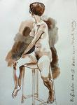 Sitzende Akt,  38X55cm,  Tuschpinsel auf Papier