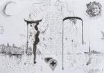 Venezianische Anatomie 42X60cm Chinatusche auf Papier, 1993