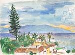 Sicht von Los Gigantes auf La Gomera, Kanarische Insel,  21X30cm, Aquarell, Tintenroller auf Papier
