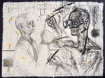 Goldmund(Hesse) malt Narziß(Hesse), 50X75cm, Tusche, Blattgold, getrocknete Narzisse auf Himalayapapier, 1996