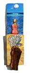 Zwischen Himmel und Sand, 21X81cm, Acryl auf Leinwand auf Aluminiumplatte