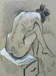 Sitzende Akt,  30X42cm,  Zeichenkreide auf grauem Papier