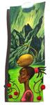 Wolke, Schatten, Kokosnuss, Kreolin, 20X50cm, Acryl auf Leinwand auf Aluminiumplatte