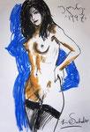 Akt mit blauen Schatten,  100X150cm,  Ölpastell auf Papier