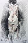 Stehende Akt,  32X50cm, Zeichenstift auf Papier