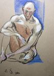 Sitzende Akt,  30X42cm,  Zeichenstifte auf Graupapier