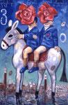 """N6. """"Rosen"""" auf Esel in Venedig mit silbernen Sternen"""