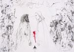 Der Traum von Giotto 42X60cm Chinatusche, Zeichentusche auf Papier, 1993