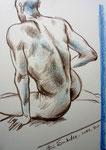 Sitzende Akt,  30X42cm,  Buntstift auf Papier,