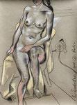 Akt,  48X63cm,  Zeichenkreide auf Ingres Büttenpapier