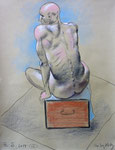 Sitzende Akt,  48X63cm,  Zeichenkreide auf Ingres Büttenpapier