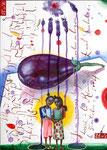 Auberginefarbende Handflächen  30X42cm, Aquarell, Tusche auf Papier, 2005