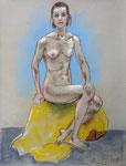 Sitzende Akt,  48X63cm,  Zeichenkreide, Pastell auf Ingres Büttenpapier