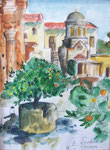 Moni Triada, Kreta, 30X40cm, Aquarell, Bleistift auf Papier