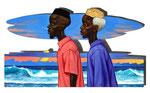 Die Kinder des Ozeans, 40X70cm, Acryl auf Leinwand auf Aluminiumplatte