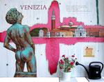 Venezia,  100X135cm, Öl, Tusche auf Leinwand, Blumen und Gießkanne