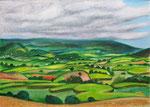 Landschaft auf  La Réunion, 30X42cm, Ölpastell auf Papier