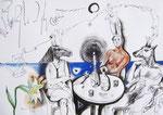 Zeitvertreib mit Idioten,  40X60cm, Tusche, Aquarell auf Papier, 1993