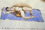 Liegende Akt,  38X55cm,  Tuschpinsel auf Papier