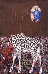 N16. Rostige Giraffe mit Jongleur