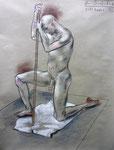 Kniende Akt,  48X63cm,  Zeichenkreide auf Ingres Büttenpapier