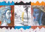 Der weinende Jason  50X71cm Mischtechnik, Collage auf Karton, 1993