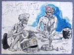 Süsse Sprache macht Schlangen zahm,  50X75cm, Tusche auf Himalayapapier, 1998