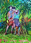 Französinnen auf  La Réunion, 20X30cm, Artist Pen, Buntstift auf  Papier
