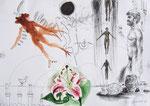 Projekt von Daidalos,   40X60cm, Tusche, Aquarell auf Papier, 1993