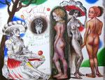 Das Urteil des Paris, 57X74cm Tusche, Ölpastell, Aquarell, Gouache auf Papier 2003