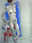 Stehende Akt,  48X63cm,  Zeichenkreide auf Ingres Büttenpapier